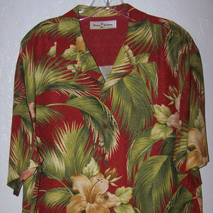 TOMMY BAHAMA 100% SILK HAWAIIAN FLORAL SHIRT S3405